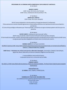 PROGRAMA DE LA SEMANA SANTA PARROQUIA CAPUCHINOS